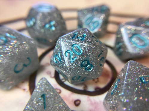 Silver and blue ink-7pc Dice Set