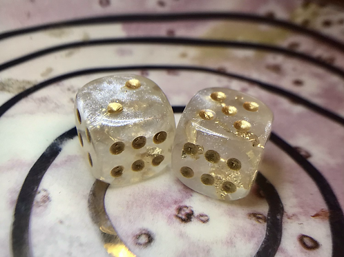 Pearl and Gold- Set of (2) 12mm d6