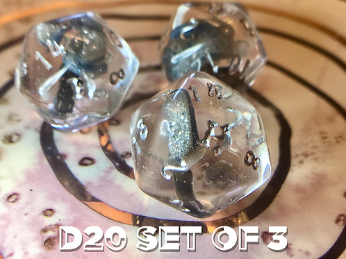 d20 set of 3 - sword, flail, axe