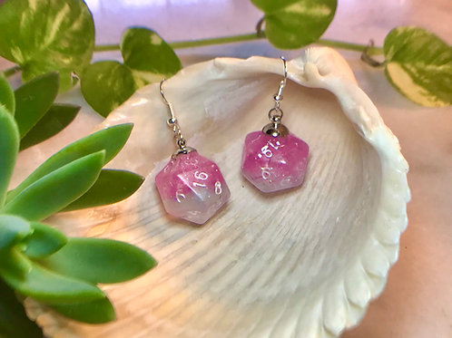 Green and pink starbursts- Handmade Dice Earrings
