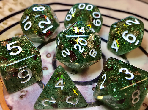 Green/red shards/gold- 7pc dice set