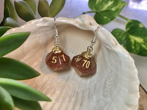 Autumn Orange- Handmade Dice Earrings