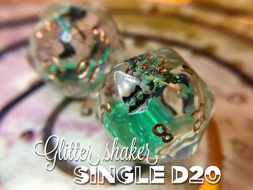Green w/Bats- Glitter Shaker d20 - Single d20