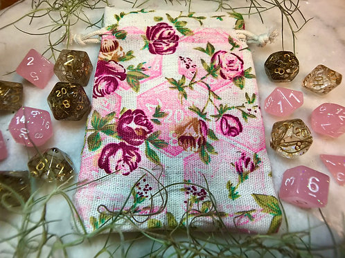 Drawstring Dice Bag floral d20 print
