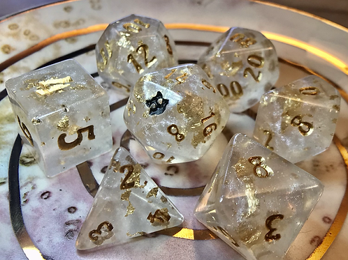 Pearl and Gold- 7pc Dice Set