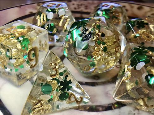 Shamrock and Gold- 7pc dice set