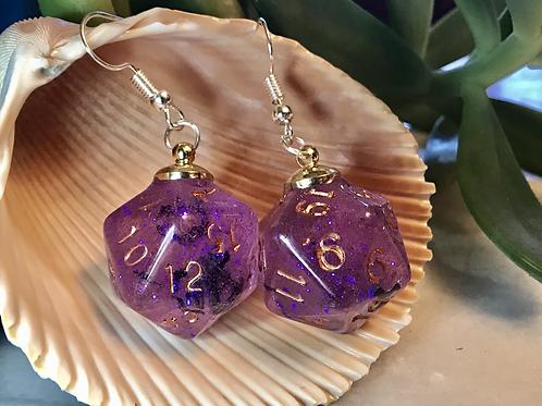Purple w Bats copper ink d20- Handmade Dice Earrings