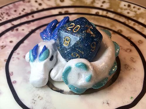 Sleepy Dice Dragon- white/blue