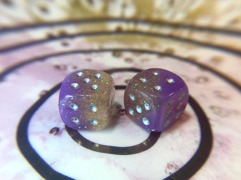 Purple/yellow- set of (2) 12mm d6