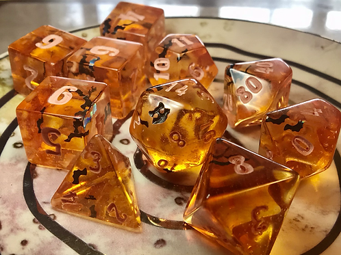 Pumpkin orange w/Black Bats 10 pc dice set