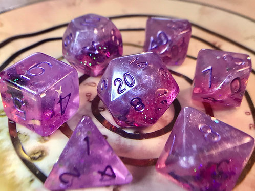 Half purple/ half pink 7pc Dice Set