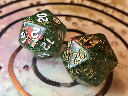 Green/red shards/gold- Single d20