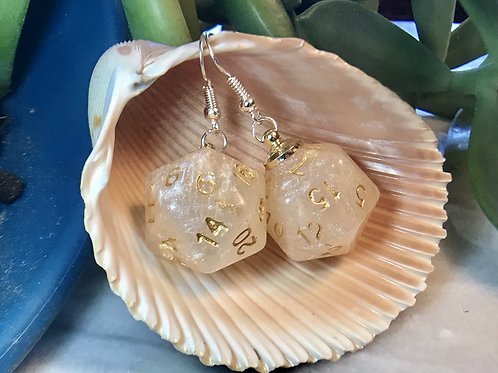 Pearl and Gold d20- Handmade Dice Earrings