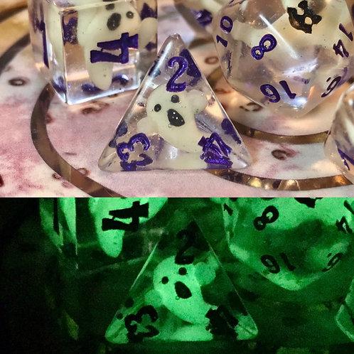 Ghosty (purple ink) 7pc dice set