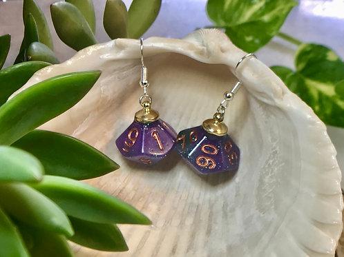 Purple/teal - Handmade Dice Earrings