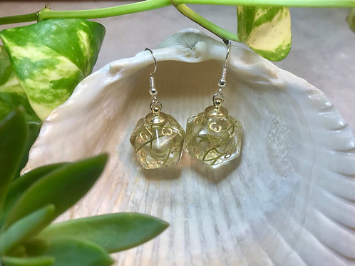 Spanish Moss- Handmade Dice Earrings