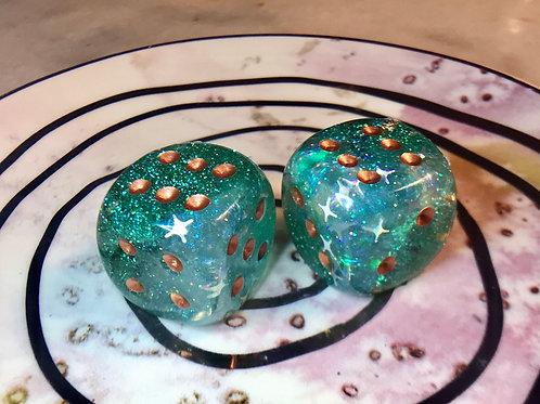 Jumbo Green/Teal set of 2 pip dice