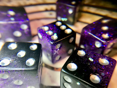 Punky Purple d6 pips- 6pc dice set