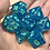 Thumbnail: Sparkly blue iridescent starbursts - 7pc dice set