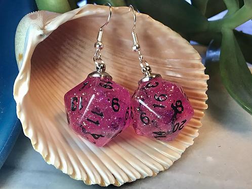 Pink/black bats d20- Handmade Dice Earrings