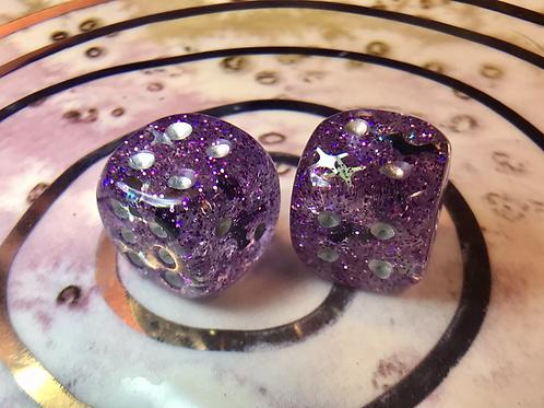 Purple bats/Silver shards- Set of (2) 12mm d6
