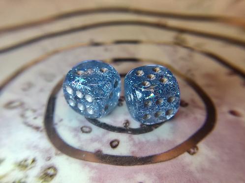 Blue Starbursts- Set of (2) 12mm d6