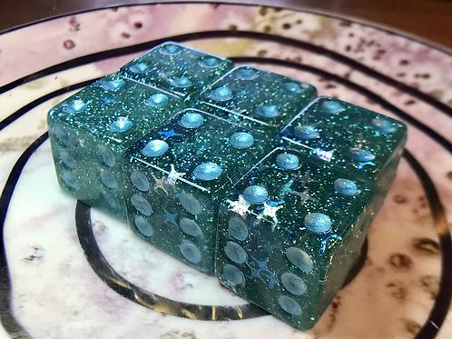 Seafoam galaxy - d6 pips - 6 pc set