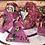 Thumbnail: Pink and Green bats gold ink- 7pc dice set