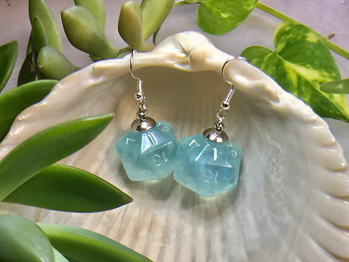 Aquamarine- Handmade Dice Earrings