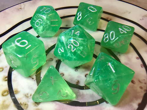 Green Starbursts- 7pc dice set
