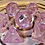 Thumbnail: Light pink and clear iridescent - 7pc dice set