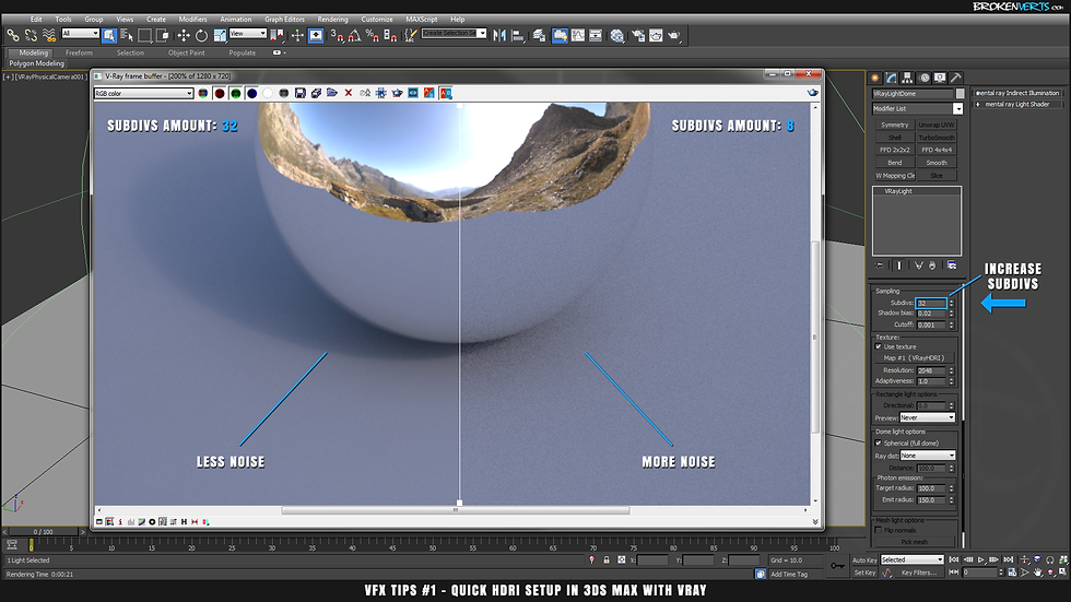 How to Remove Noise in V-Ray Tutorial Ben Tate VFX Tips CG 3D Brokenverts.com 3ds Max