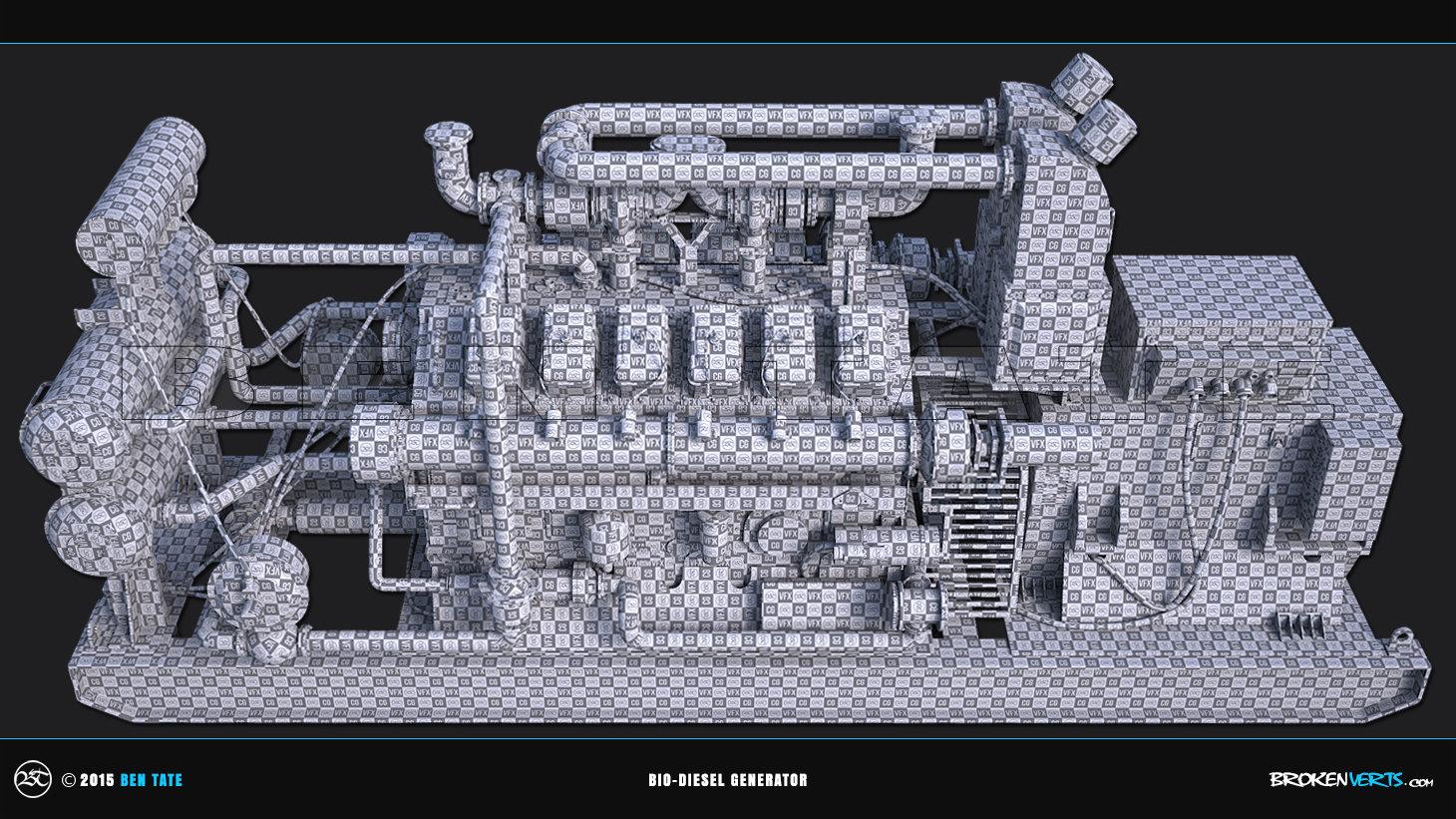 Bio-Diesel Generator Unwrapped UVs   Ben Tate   3ds Max V-Ray Mari Photoshop
