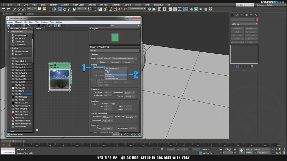 V-Ray 3ds Max Standard Mapping vs Spherical Mapping Tutorial Ben Tate VFX Tips CG 3D Brokenverts.com 3ds Max