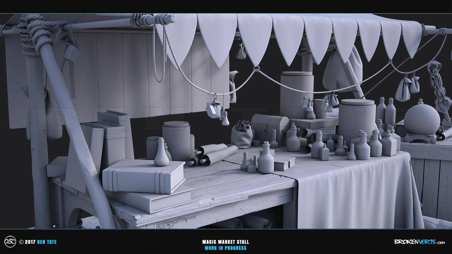Ben Tate Magic Market Stall - 3ds Max Zbrush Marvelous Designer VRay Model CG VFX Concept Art WIP