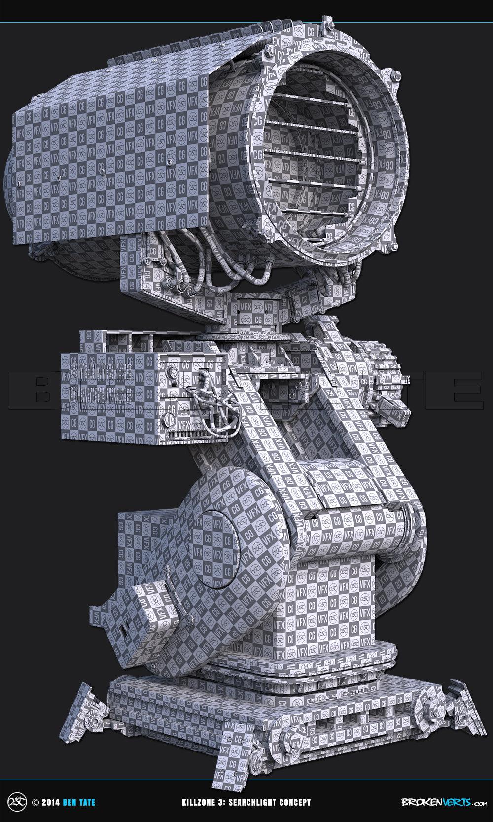 Killzone Searchlight Concept 3ds Max UVs Unwrap 3D Model | Ben Tate | 3ds Max V-Ray | 3d CG VFX
