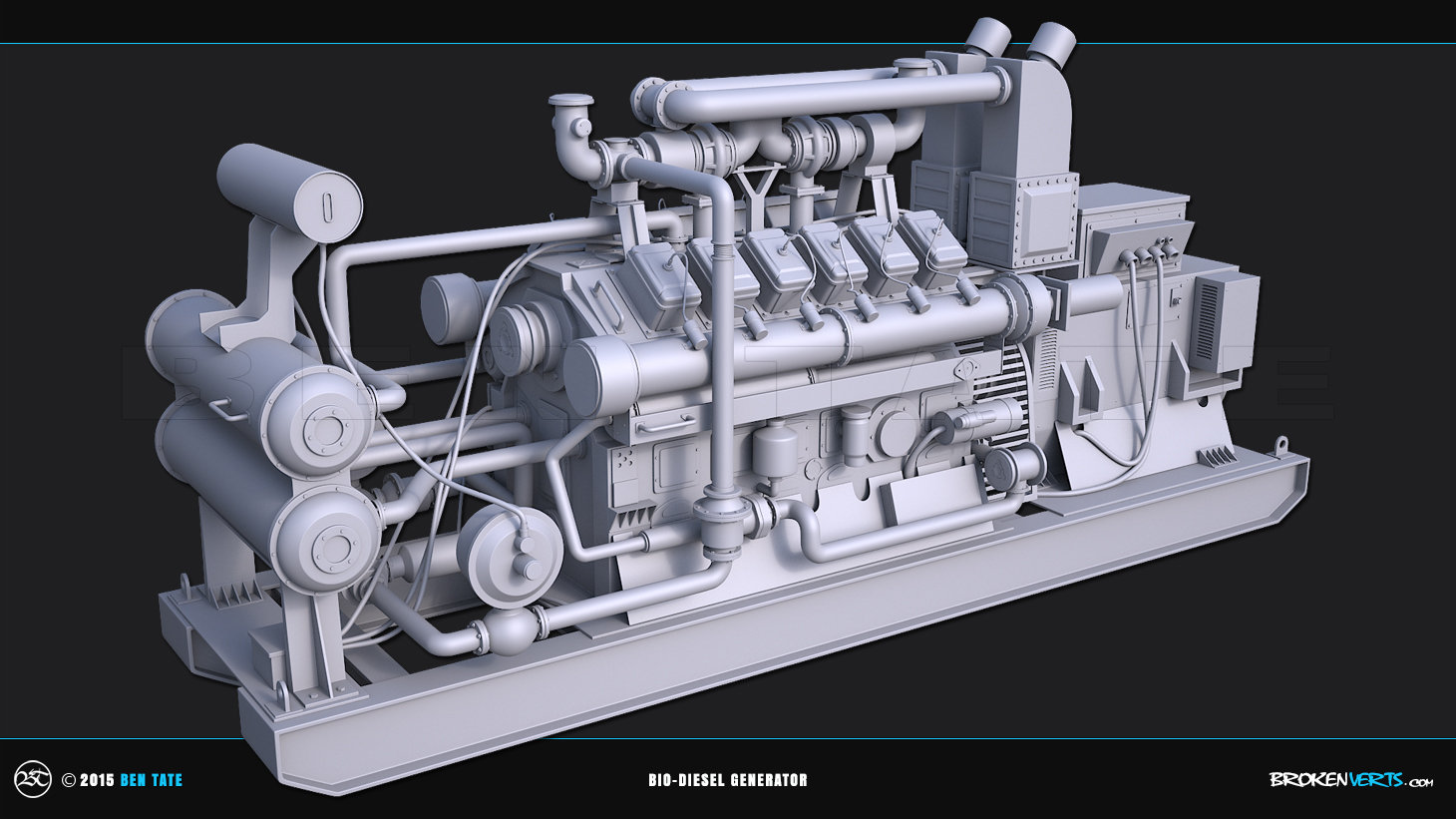 Bio-Diesel Generator 3ds Max Clay Render   AO Render   3D Model   Ben Tate   3ds Max V-Ray
