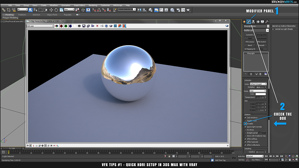 V-Ray Environment Lighting Reflections Tutorial Ben Tate VFX Tips CG 3D Brokenverts.com 3ds Max
