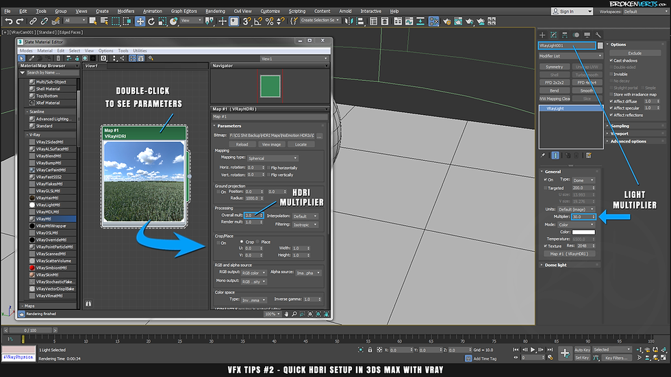 HDRI Directional Lighting V-Ray IBL Tutorial Ben Tate VFX Tips CG 3D Brokenverts.com 3ds Max
