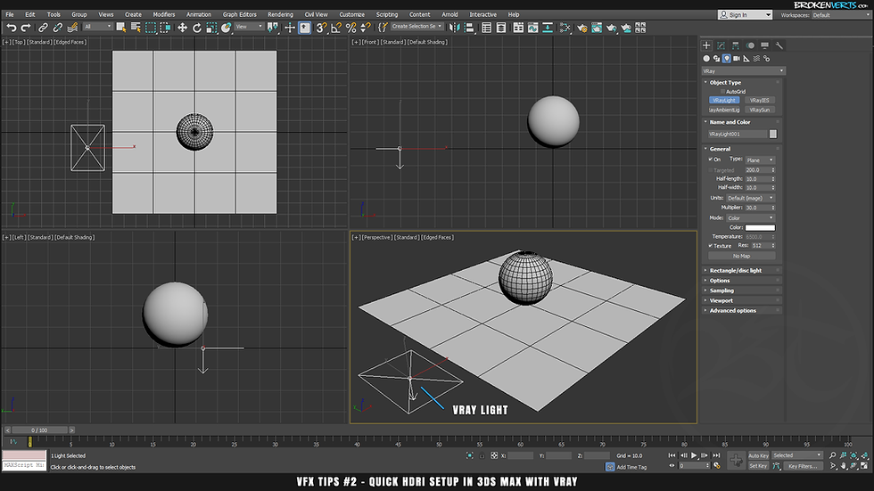 V-Ray Dome Lighting in 3ds Max with V-Ray 3 Ben Tate Tutorial VFX Tips CG 3D Brokenverts.com