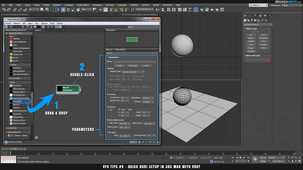 IBL in 3ds Max with V-Ray 3 Ben Tate Tutorial VFX Tips CG 3D Brokenverts.com