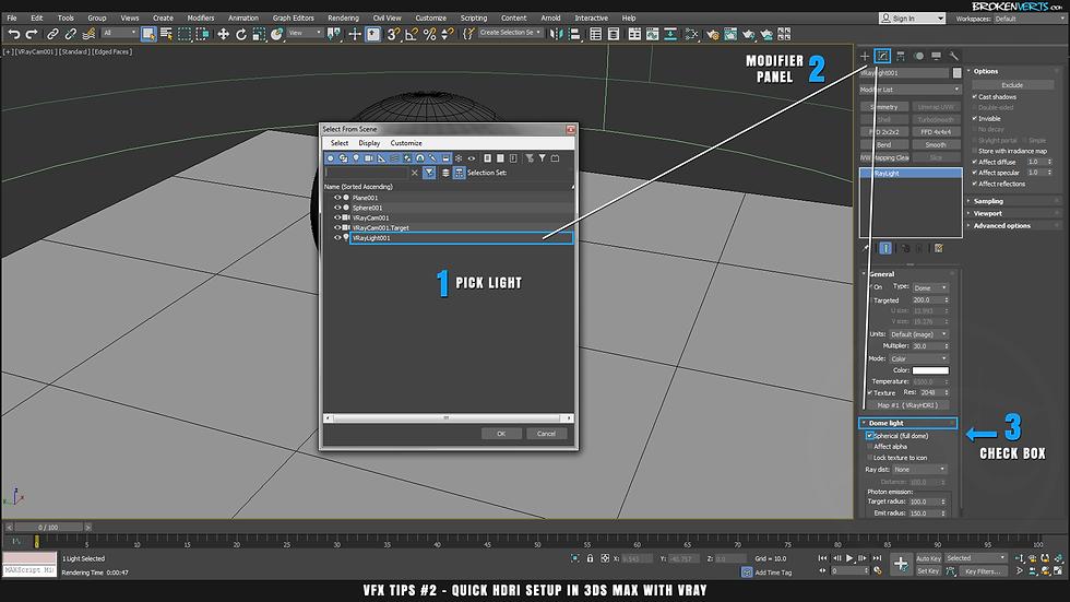 V-Ray Environment Lighting Reflections Tutorial Ben Tate VFX Tips CG 3D Brokenverts.com 3ds Max