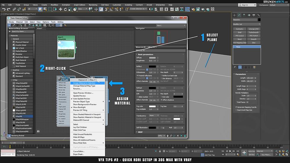 3ds Max Slate Editor V-Ray Material Tutorial Ben Tate VFX Tips CG 3D Brokenverts.com