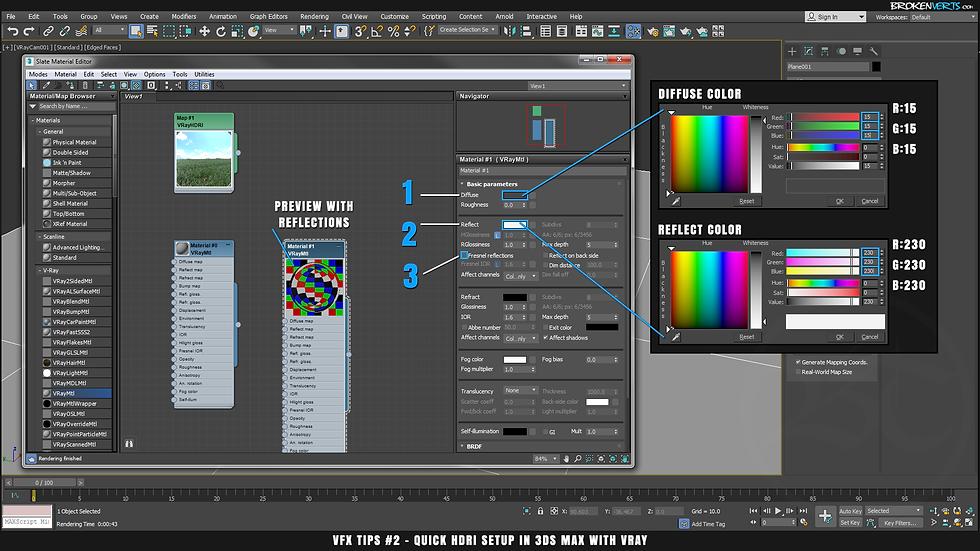 V-Ray Chrome Material Setup Tutorial Ben Tate VFX Tips CG 3D Brokenverts.com 3ds Max