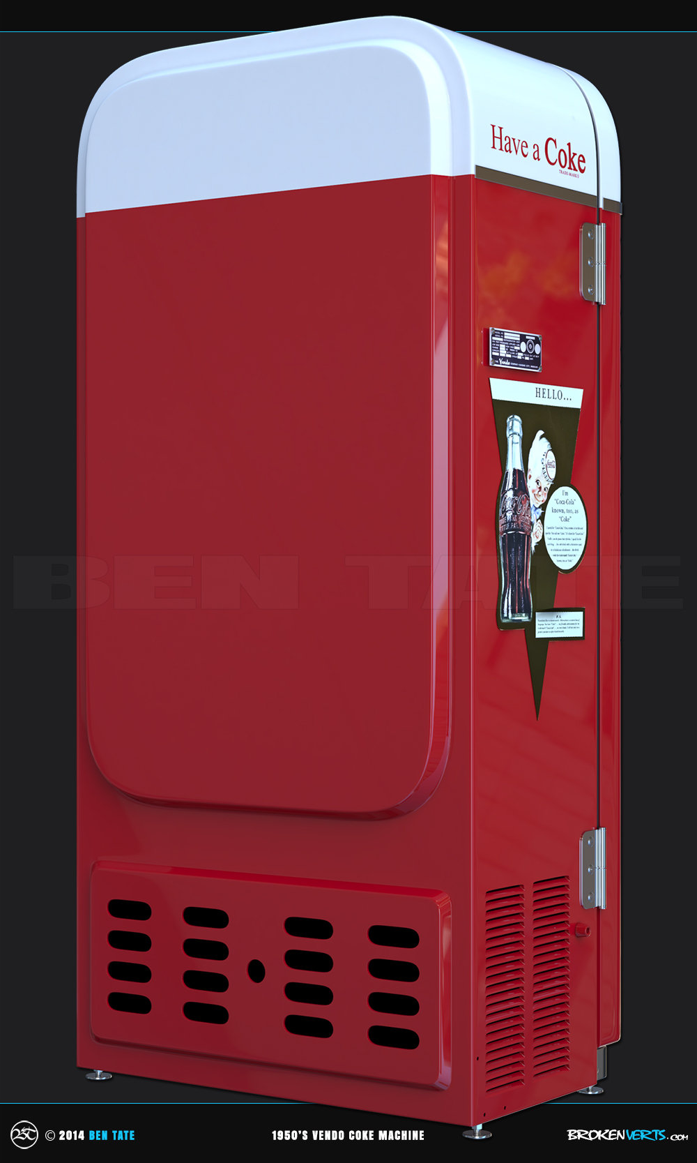 1950s Vendo Coke Vending Machine  3D Model | Ben Tate | 3ds Max V-Ray Photoshop |3d CG VFX