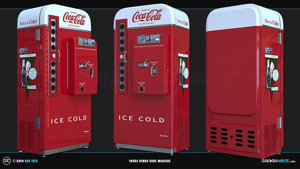 1950s Vendo Coke Vending Machine  3D Model | Ben Tate | 3ds Max V-Ray Photoshop