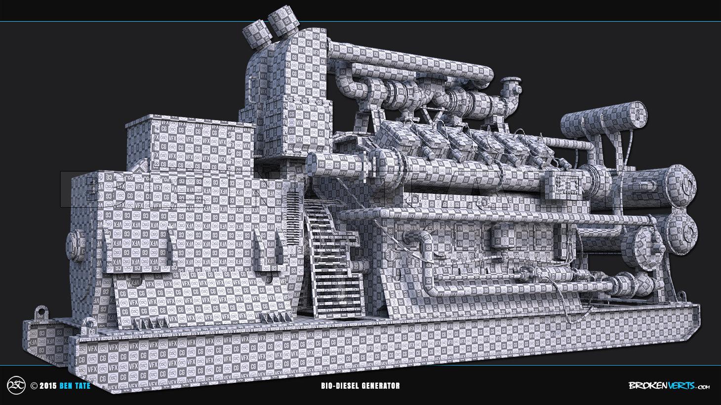Bio-Diesel Generator Unwrapped UVs | Ben Tate | 3ds Max V-Ray Mari Photoshop