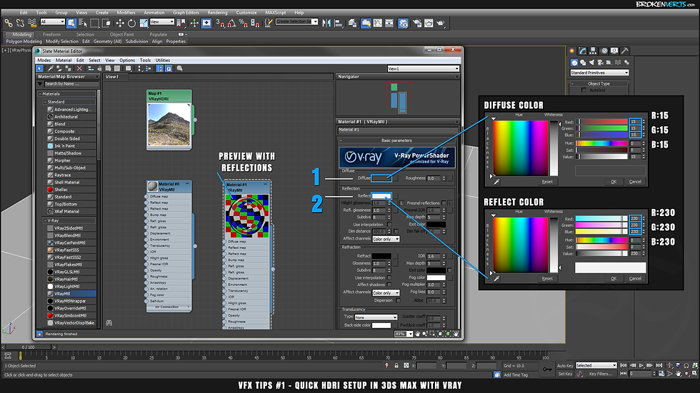V-Ray Chrome Material Setup Tutorial Ben Tate VFX Tips CG 3D Brokenverts.com 3ds Max