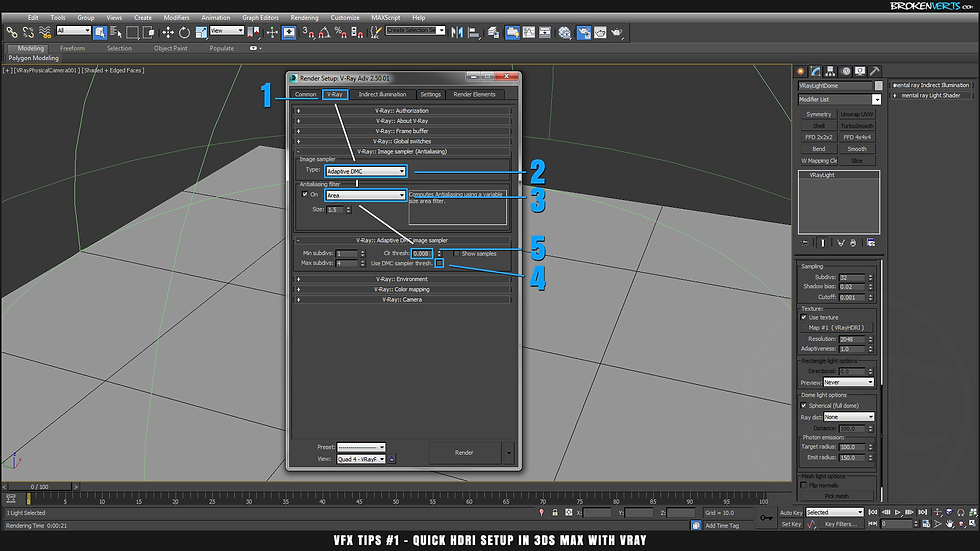 V-Ray Render Settings Tutorial Ben Tate VFX Tips CG 3D Brokenverts.com 3ds Max