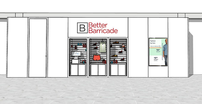 Retail Display Barricade Front w Display